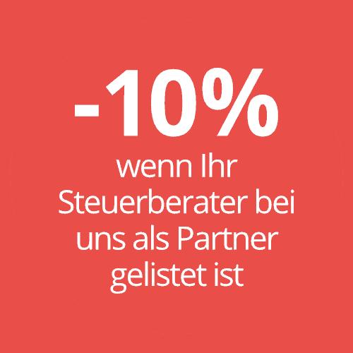 -10% wenn Ihr Steuerberater bei uns als Partner gelistet ist
