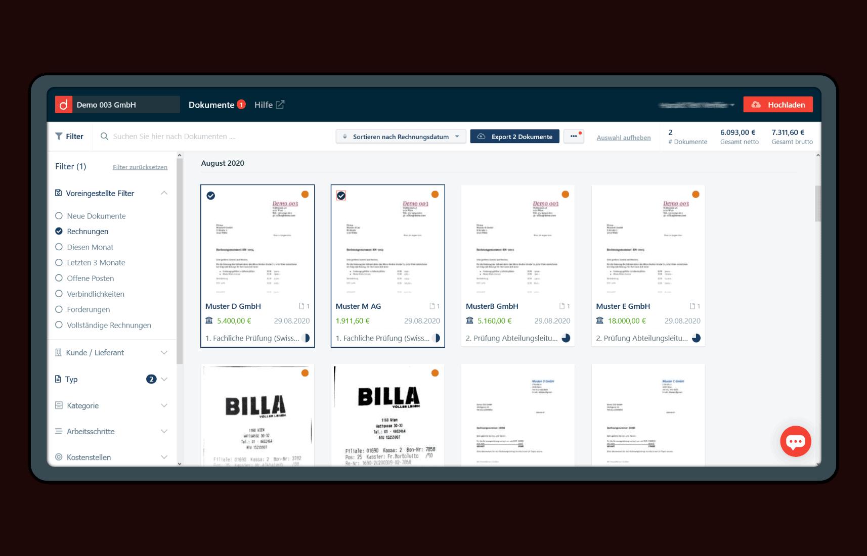 Belegansicht in der domonda App. Einfaches Belegmanagement.