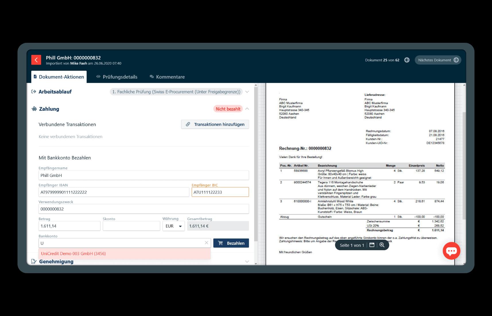 Bezahlung von Rechnungen in der App