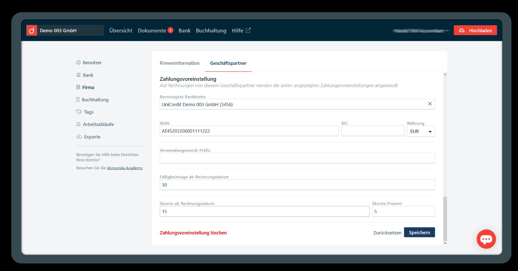 Ansicht Zahlungsvoreinstellungen in der domonda App