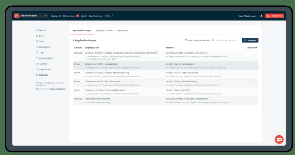 Mit Regelsätzen in domonda können Sie digitale Rechnungsfreigaben automatisieren