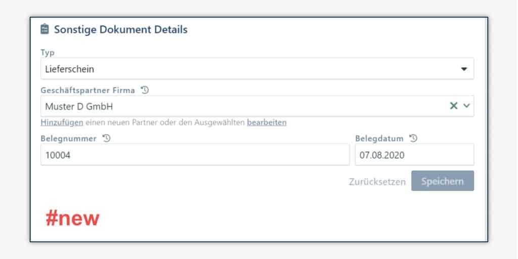 Erfassung von Belegdatum, Belegnummer, Geschäftspartner und Dokumententyp für sonstige Dokumente